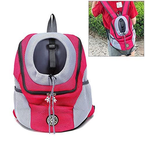Tuzi Qiuge Haustierträger Rucksack, Outdoor-Haustier-Hundeträger-Taschen-Front-Tasche Doppel-Schulter tragbarer Reise-Rucksack-Mesh-Rucksack-Kopf, Größe: l (Color : Rose Red)