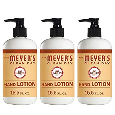 Mrs. Meyer's Clean Day Hand Lotion, Long-Lasting, Non-Greasy Moisturizer with Shea Butter, Oat Blossom Scent, 12 oz- Pack of 3