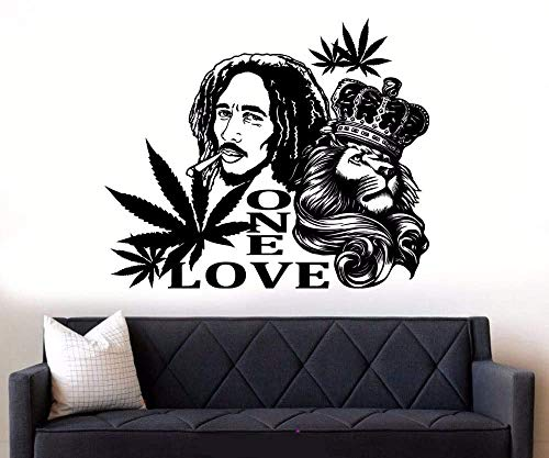 Vinyl Wandtattoo Bob Marley Lion Eine Liebe Wandaufkleber Reggae Musik Wandkunst Wandbilder Abnehmbares Poster Home Art Design Dekor A69X57Cm