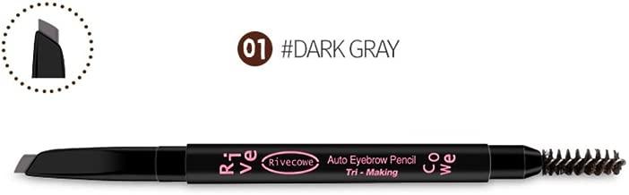 [ Rivecowe ] Tri-Making Auto Eyebrow Pencil 0.105 oz / 3g (#01 Dark Gray)