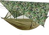 WSYGHP Hamacas de paracaídas ultraligeras portátiles, 260 * 140 cm con Pantalla de Cielo de sombrilla antimosquito, Hamaca durmiendo carabiners portátiles Hamaca (Color : Camo Armgreen)