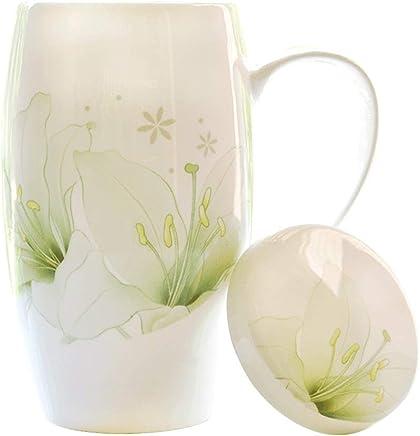 Preisvergleich für LiPengTaoShop Becher Tasse/Keramik Tasse/Becher/Kaffeetasse Büro Trinkbecher Keramik große Kapazität Teetasse kreative Paar Becher mit Deckel Persönlichkeit Porzellan Tasse weibliche einfache Tasse