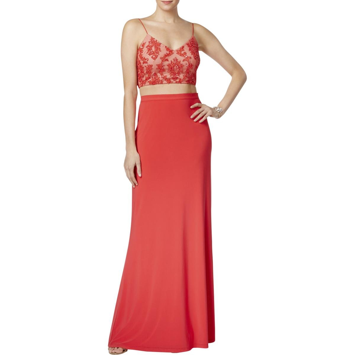 Available at Amazon: Adrianna Papell $279 New 1190 Red Beaded Sequined 2 Pc Dress 10 Petites B+B
