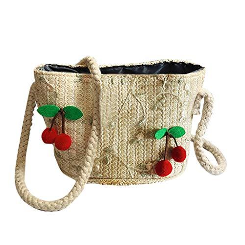 Strand Taschen Damen Umhängetasche Retro Hand Weben Handtasche Kirsche Citytasche Schultertasche Böhmen Brieftasche Elegante Henkeltasche Hawaii Crossbody Brieftasche Messenger Bag