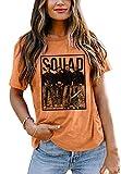 Womens Halloween Squad T-Shirt Funny Graphic Tee Women Hocus Pocus Top Shirts (Orange, Small)