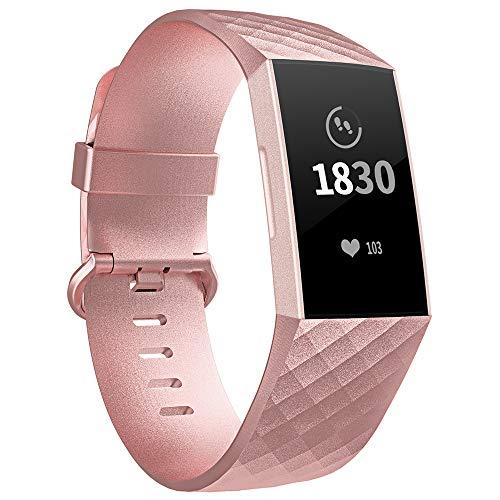 Adepoy für Fitbit Charge 3 Armband, Verstellbarer klassischer Sport Ersatzarmband Kompatibel mit Fitbit Charge 3/ Charge 3 SE, Damen Herren (Rose Gold, Groß)