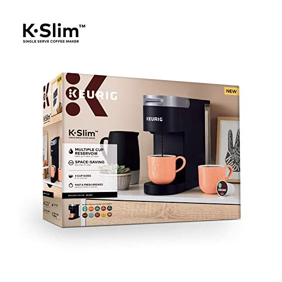 "Keurig k-slim single serve coffee maker with coffee lovers' variety pack, 40 count k-cup pods 4 fits anywhere: less than 5"" wide, fits neatly on your countertop. Multiple cup water reservoir: removable 46 oz. Reservoir lets you brew up to 4 cups before refilling. 8oz cup size 3 cup sizes: brew an 8, 10, or 12 oz. Cup at the push of a button."