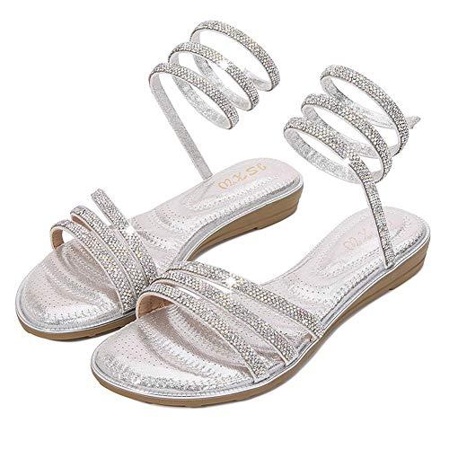 Dames Dames Espadrilles Platform Sleehak Open teen sandalen (36-41),Silver,39