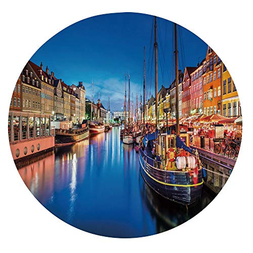 "Elastic Edged Polyester Fitted Table Cover,Entertainment District Denmark Nyhavn Canal Copenhagen River Boats Shops Attraction Tablecloth,Fits Round Tables 36-40"",For Parties Weddings Spring Summer Mu"