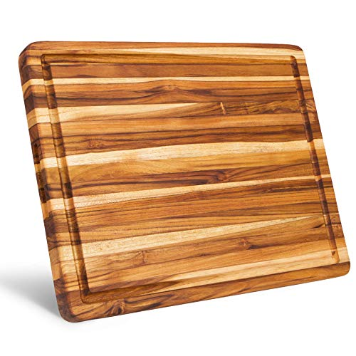 Large Teak Wood Cutting Board with Juice Groove - [18x 14x 1.25 Inch]   Thick Edge Grain Carving Board   Reversible Chopping Block with Hand Grips by Shumaru