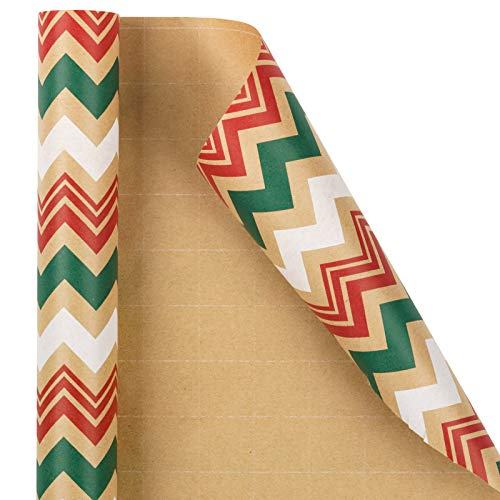 RUSPEPA Christmas Wrapping Paper, Kraft Paper - Red, Green and White Chevron Stripes Design - 30 inches x 32.8 feet
