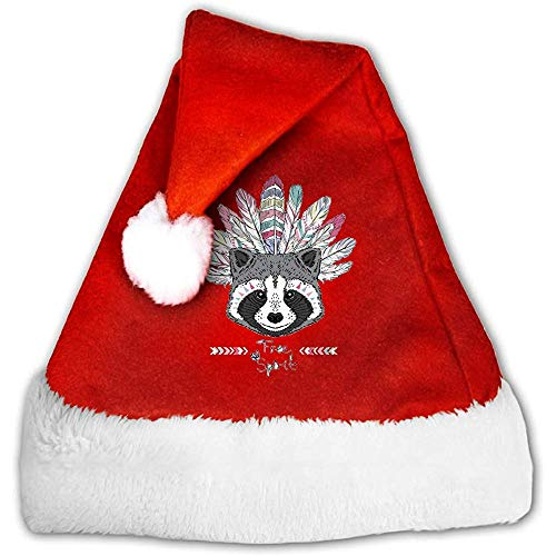 Kenice Weihnachtsmann Hut,Santa Claus Mütze,Weihnachtsmützen,Rot Weihnachten Hüte,Waschbär-Inder-Party-Dekoration,Weihnachtsmann-Kappe,Weihnachtsfeiertags-Hut M