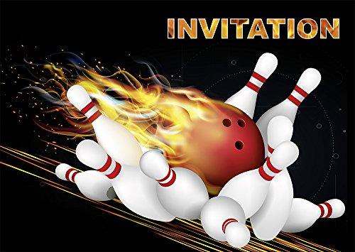 10 Einladungskarten Bowling/Quillles in französischer Sprache: Set mit 10 Einladungskarten für einen Kindergeburtstag oder für einen Bowling-Abend, Kegel der (10694 FR)