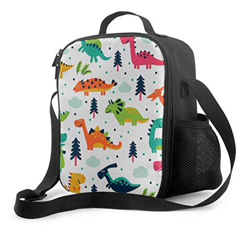 Lawenp Bolsa de almuerzo única para niños, dinosaurio, bebé, amor, bolsa de almuerzo con asa, correa para el hombro, bolsa refrigeradora reutilizable para hombres, mujeres, trabajo/escuela/picnic