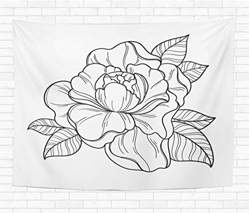Assp Tapestry Fantasy Peony Flower Floral Coloring Book Page for Adult 50x60 Inches Home Decorative Wall Hanging Tapestries for Living Room Bedroom Dorm