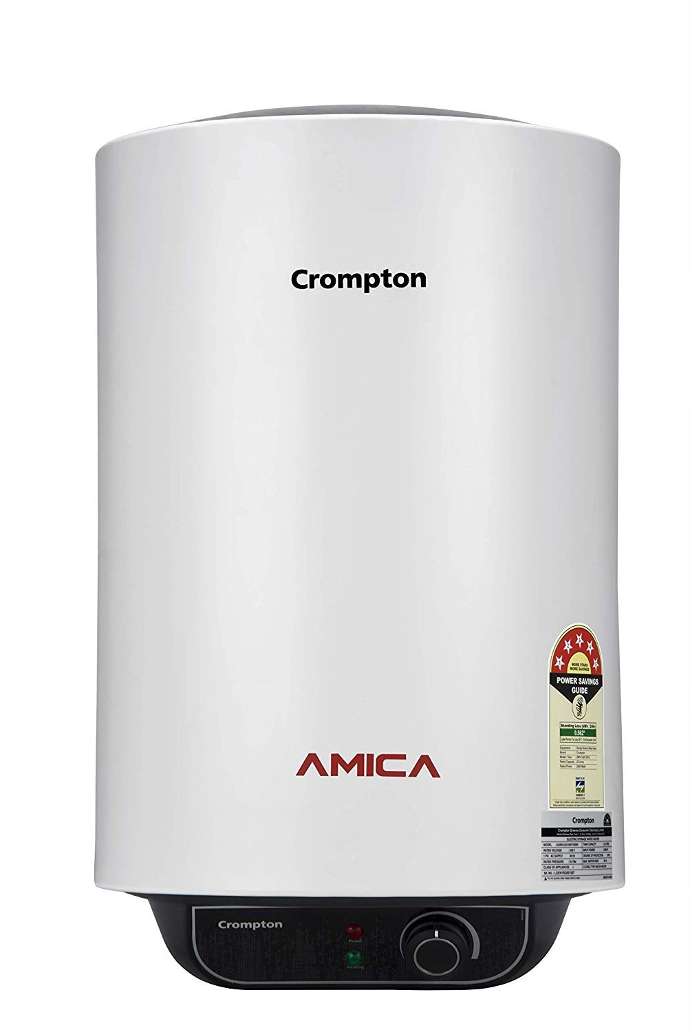 Crompton 25 L Storage Water Geyser (White/Grey, Amica) - Buy