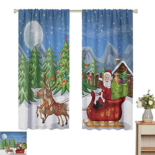 Wear Pole Curtains Kids Room Curtains Country Landscape at Night with Trees Santa Claus Snowdrift Reindeers Mountains Multicolor Multifunctional Power Off Curtain Set of 2 Panels W55 x L39
