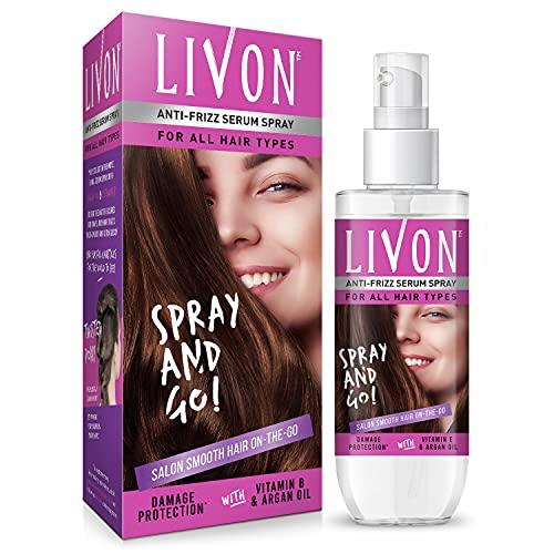 Livon Hair Serum Spray for Women  Smooth, Frizz free & Glossy Hair on the go   With Moroccan Argan Oil & Vitamin B   100 ml