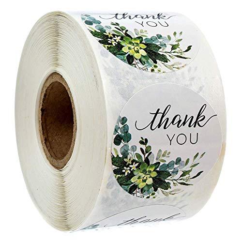 500 adesivi rotondi fatti a mano con scritta 'Thank You', adesivi rotondi per regali fai da te, per sigillare caramelle e biscotti, colore bianco, 1 rotolo