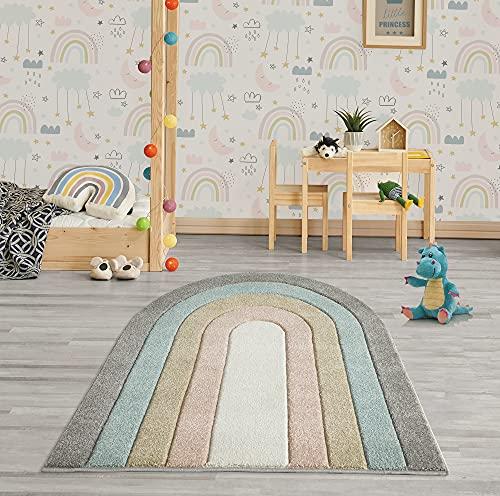 the carpet Monde Moderner Designer Kinderteppich Wohnzimmerteppich, Weicher Kurzflor, Hoch Tief Effekt, Oval, merhfarbig, Regenbogen, Bunt, Anthrazit-Blau-Gold-Mix, 133 x 150 cm, Oval