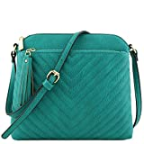 Chevron Quilted Medium Crossbody Bag with Tassel Accent (Teal)