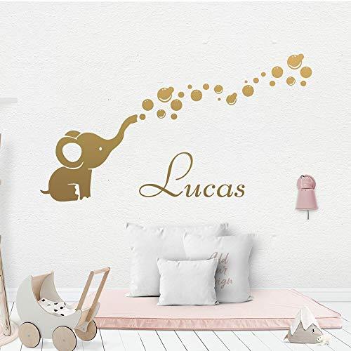 ASFGA Nombre Personalizado habitación del bebé Luna Oso Mariposa Angelito Base Pegatina de Pared Pegatina de Pared Linda decoración de la habitación de los niños Papel Tapiz del bebé dormitori