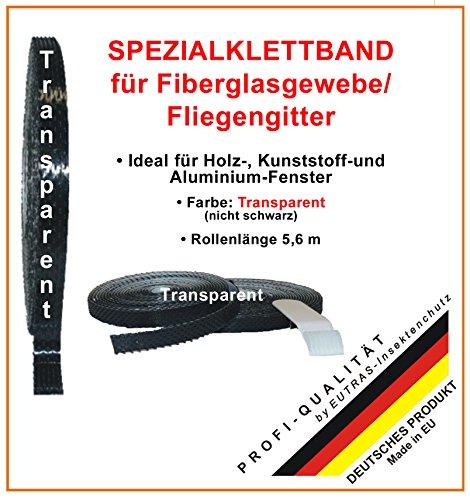 EUTRAS Klettband TRANSPARENT für Fiberglasgewebe Fliegengitter Insektenschutz