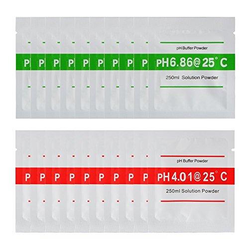 Nynel 20 unids/set PH Medidor de prueba Solución de calibración PH Buffer Powder 4.01/6.86 Punto de calibración para rápida fácil y precisa pH Calibración pureza del agua BI672
