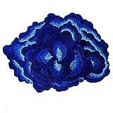 Insignias bordadas en 3D con diseño de flores para coser en ropa, sombreros, suministros de costura decorados 1 pieza azul