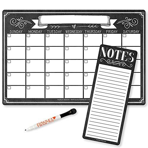 Magnetic Fridge Calendar Dry Erase Magnetic Calendar for Refrigerator - Vintage Magnetic Dry Erase Calendar for Fridge, White Board Calendar for Wall, Dry Erase Board Calendar, Magnetic Notepad