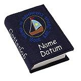 Gotteslob Gotteslobhülle Hülle Mit Jesus zusammen in einem Boot Filz Namen bestickt Einband Umschlag personalisierte Gesangbuchhülle, Farbe:navy