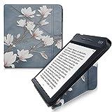 kwmobile Funda Compatible con Kobo Libra H2O - Carcasa magnética de Origami para e-Book - Magnolias marrón Topo/Blanco/Gris Azulado