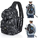 PLUSINNO Fishing Tackle Backpack Storage Bag,Outdoor Shoulder Backpack,Fishing Gear Bag,Water-Resistant Fishing Backpack with Rod Holder