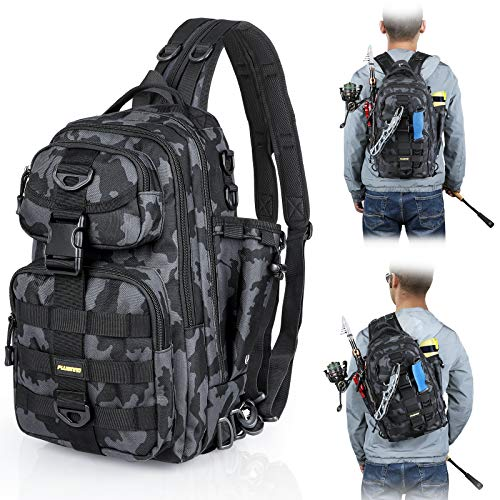 PLUSINNO Fishing Tackle Backpack Storage Bag,Fishing Gear Bag,Water-Resistant Fishing Backpack with Rod Holder