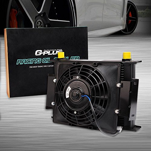 """30 Row 10AN Aluminum Universal Engine Transmission Oil Cooler Kit With 7"""" Fixed Engine Cooling Fan"""