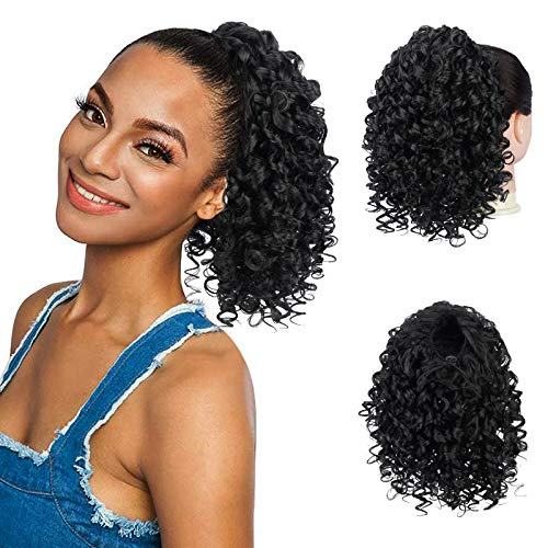 Drawstring Ponytail Afro Kinky Curly Ponytail for Black Women, PEACOCO 10 Inch Synthetic Hairpieces Clip in Jerry Curls Afro Puff Ponytail Extensions (1B)