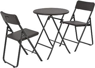 Festnight Mesa y sillas jardín Plegables 3 pzas HDPE Aspecto ratán marrón 60 x 74 cm/42,5 x 52 x 81 cm, Conjuntos de Muebles de jardín