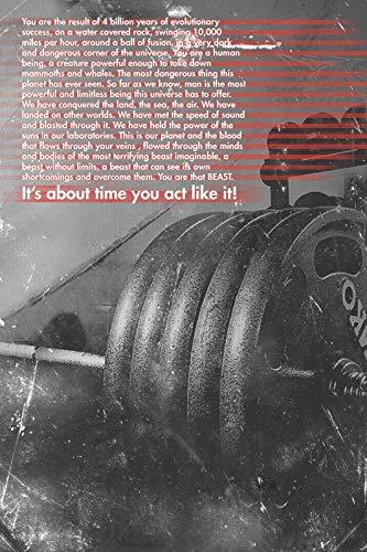 // TPCK // Impresión artística motivacional de culturismo de 10,16 cm. ¡Eres esa bestia! - Póster de motivación para levantamiento de pesas A3 (29.7 x 42.0cm)