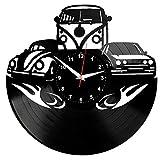 EVEVO Beetle Golf California Wanduhr Vinyl Schallplatte Retro-Uhr Handgefertigt Vintage-Geschenk Style Raum Home Dekorationen Tolles Geschenk Uhr Golf Beetle California