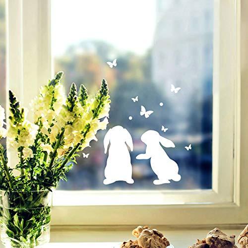 ilka parey wandtattoo-welt Fensterbild Häschen Hasen -WIEDERVERWENDBAR- Fensterdeko Fensterbilder Osterhasen & Schmetterlinge M2346
