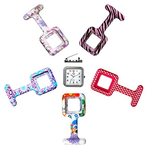 LANCARDO Uhren, Krankenschwester Armbanduhr FOB-Uhr Revers Pin Klammer on Brosche hängen Taschenuhr Pulsuhr Kitteluhr Pflegeuhr Quarzuhr Silikon Krankenschwesteruhr mit Klipp(Clip)