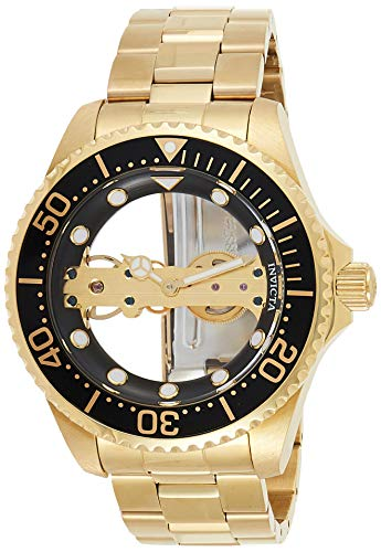 Invicta Men's Pro Diver Mechanical-Hand-Wind Stainless-Steel Strap, Gold, 22 Casual Watch (Model: 24694)