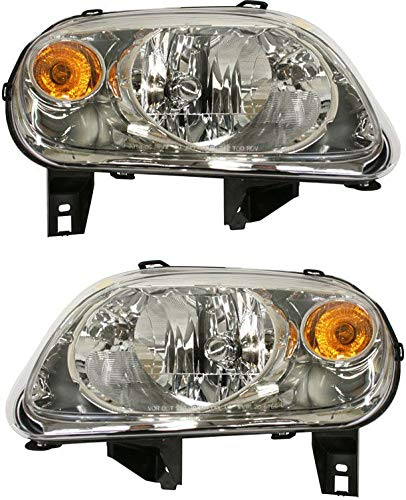 Evan-Fischer Headlight Set Compatible with 2006-2011 Chevrolet HHR Left Driver and Right Passenger Side Halogen With bulb(s)