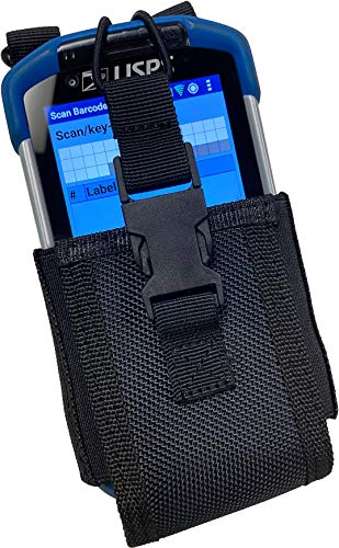 Black Rugged Nylon Pouch Tactical Holder Holster [Dual Duty/Utility Belt Loops and Neck Lanyard] for Zebra TC77HL, TC77, USPS Mobile Handheld Scanner