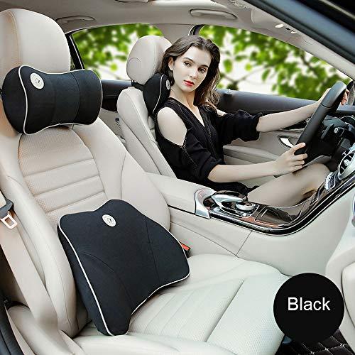 PIG-GIRL auto Lumbar kussens reizen gemakkelijk auto Lumbar ondersteuning rug kussen hoofdsteun nek kussen kit voor auto stoel met rug