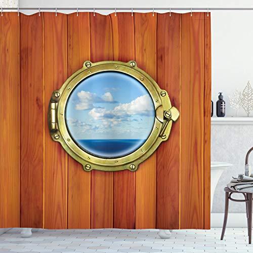 ABAKUHAUS Nautisch Duschvorhang, Schiff Alten Segelschiff, aus Stoff inkl.12 Haken Digitaldruck Farbfest Langhaltig Bakterie Resistent, 175 x 200 cm, Dunkel Orange Gelb Hellblau