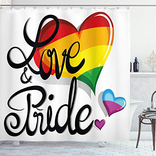 Ambesonne Pride Shower Curtain, Vibrant Big and Little Hearts Gay Lesbian Transsexual Romantic Design Love and Pride, Cloth Fabric Bathroom Decor Set with Hooks, 70' Long, Black Red