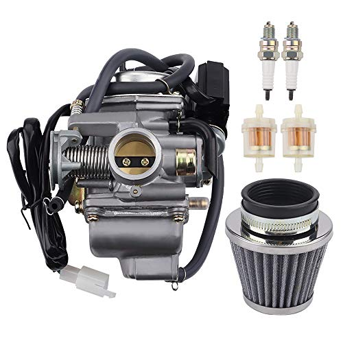 Tvent 152QMI 157QMJ PD24J 24mm Carburetor w Air Filter Replacement for GY6 150cc 125cc 4 Stroke ATV Go Karts Scooter Mopeds