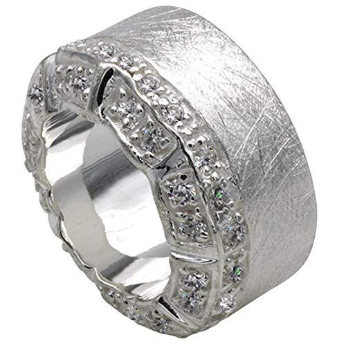 massiver Silberring hochwertige Goldschmiedearbeit aus Deutschland (Sterling Silber 925) mit Zirkonia Steinen schwerer ausgefallener Damenring