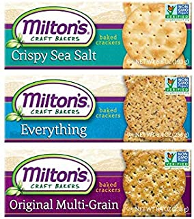 Milton's Gourmet Crackers. Crispy Sea Salt, Multi-Grain, and Everything Bundle Non-GMO Baked Crackers. 3 Flavor Variety Bu...